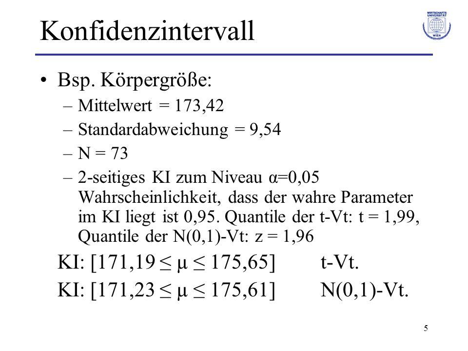 Konfidenzintervall Bsp. Körpergröße: KI: [171,19 ≤ µ ≤ 175,65] t-Vt.